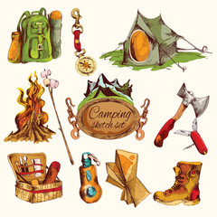 Camping sketch set colored