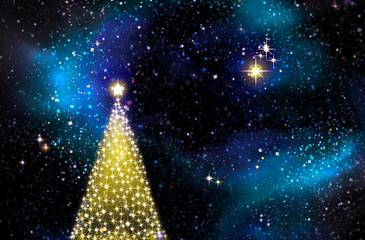 Christmas tree on blue background.