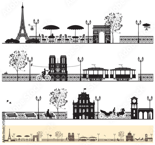 Fototapeta seamless frieze with the Paris streets and architectural sights