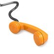 canvas print picture - Orange telephone receiver