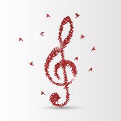 origami birds violin clef