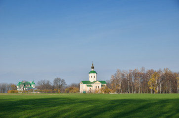 Ukrainian country landscape with a monastery