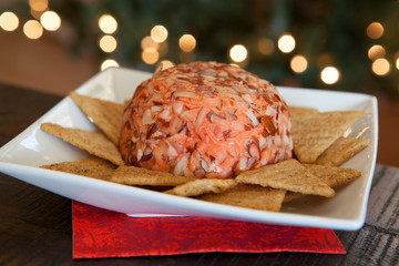 Cheese Ball and Crackers