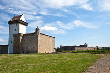 Two fortresses on parties from river which is border.Narva