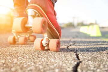roller skating close up