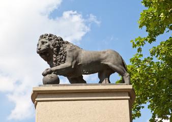 monument Swedish lion in Narva, Estonia