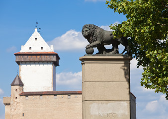 monument Swedish lion in Narva, Estonia