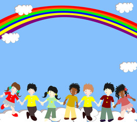 Children of different races are in the clouds under the rainbow