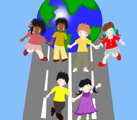 Children of different races are on the road together