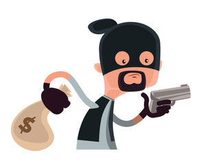 Masked robber with gun and money