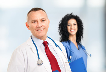 Portrait of a smiling doctor and a nurse