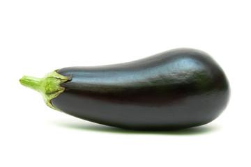 ripe eggplant isolated on white background close-up