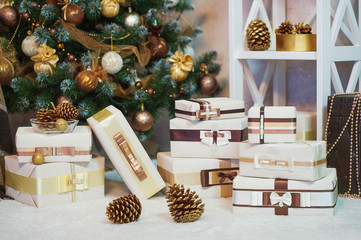 Christmas decoration in golden and brown colors