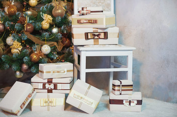 Tons of Christmas box presents beautifully styled and decorated