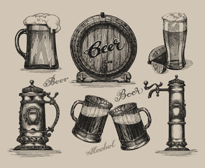 Beer set. Sketch elements for oktoberfest festival. Hand-drawn