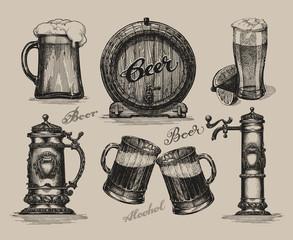 Beer set. Sketch elements for oktoberfest festival. Hand-drawn