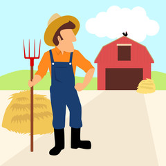 Simple cartoon of a farmer and his barn