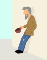 Simple cartoon of a beggar beg for money