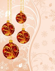 Christmas floral background with set balls