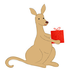 Känguru mit Geschenk