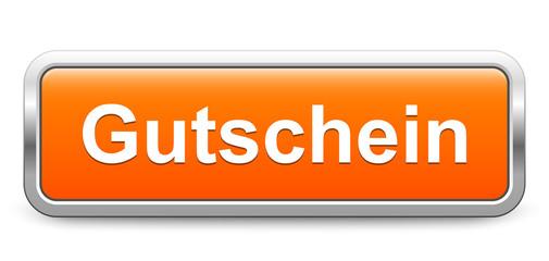 Gutschein – orange metallisch Schild Knopf