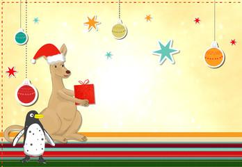 Känguru und Pinguin feiern Weihnachten