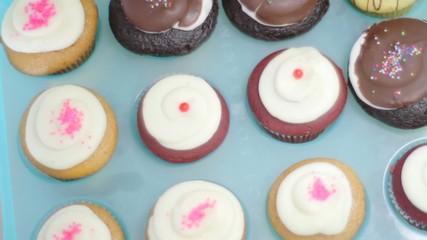 set of fresh cupcakes