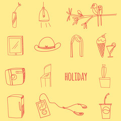 Hand drawing doodle icon set, holiday theme