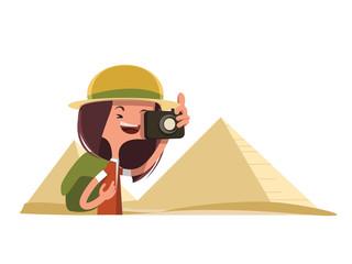 Tourist girl in Egypt (pyramids)