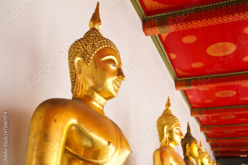 poster of Buddha in Wat Pho Temple sequential nicely in Bangkok, Thailand.
