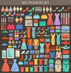 Big fashion set in a style flat design.