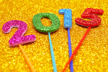 glittering numbers forming the number 2015, as the new year