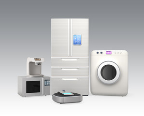 Set of household appliances on gray background