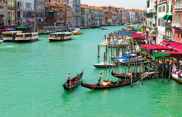 View of Grand Canal of Venice from Bridge Rialto, Venice. Italy