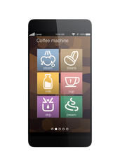 Smart phone apps for coffee machine. Clipping path available.
