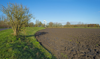 A plowed field under a sunny sky at fall