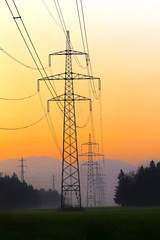 Electrical power lines. Electrical power and energy. Alternative