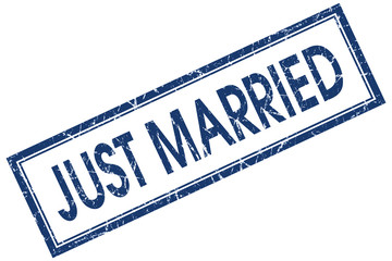 just married blue square stamp isolated on white background