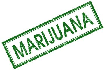 marijuana green square stamp isolated on white background