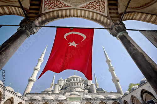 Poster Turkey Turkish Flag at the Blue Mosque