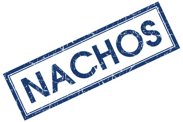 nachos blue square stamp isolated on white background