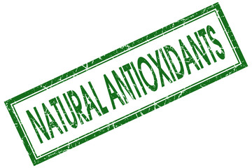 natural antioxidants green square stamp on white background