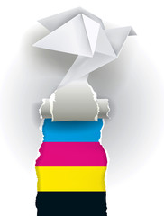 Origami dove ripping paper with print colors