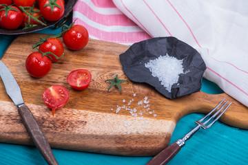 farm fresh ripe tomatoes and salt