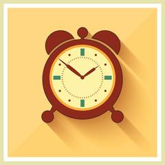 Alarm Clock on Retro Background Vector