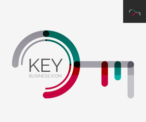 Minimal line design logo, key icon