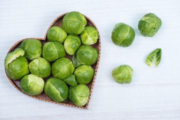 fresh broccoli in heart shape