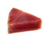 Yellowfin tuna steak isolated ona  white studio background. poster