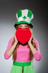Woman wearing saint patrick hat