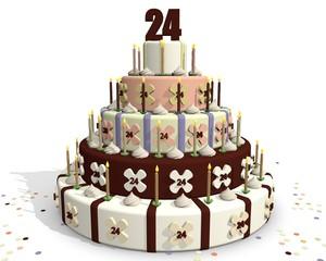 taart met cijfer 24 - verjaardag - feest